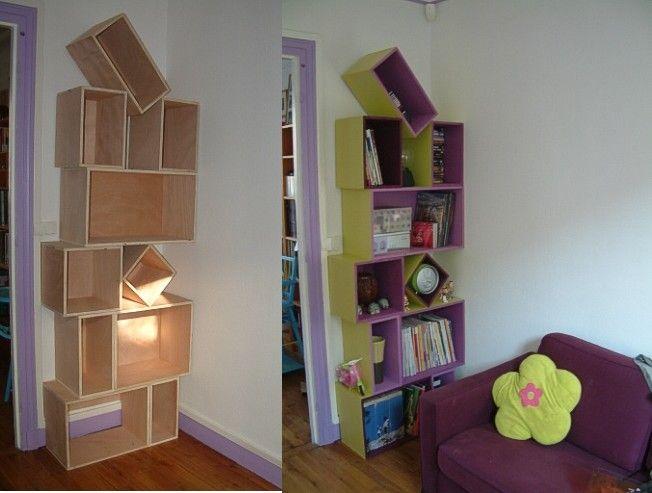 Wine Crates Bookcase Avec Images Bibliotheque En Caisse