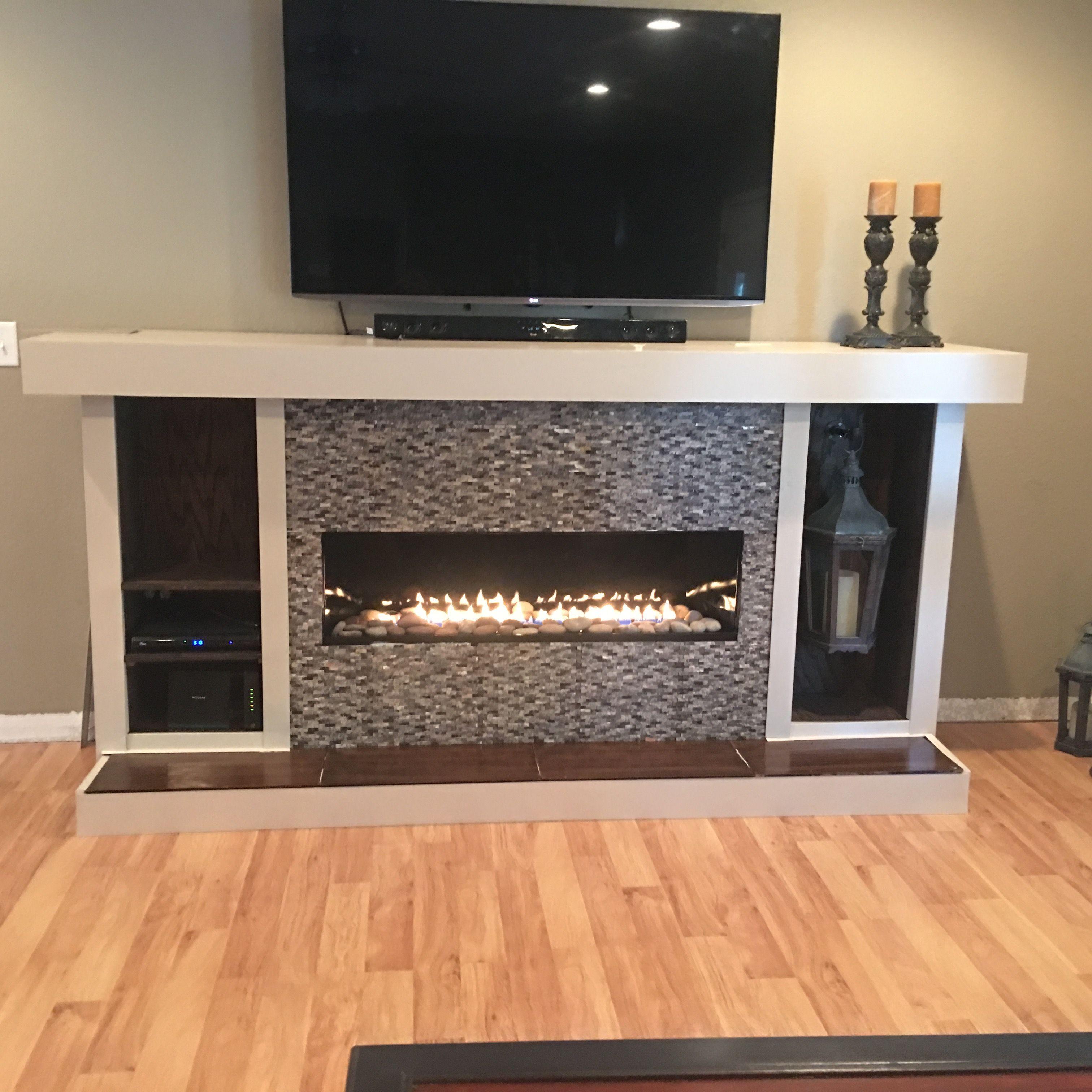 Free Standing Linear Ventless Gas Fireplace With Bookshelves Linear Fireplace Gas Fireplace Fireplace Bookshelves