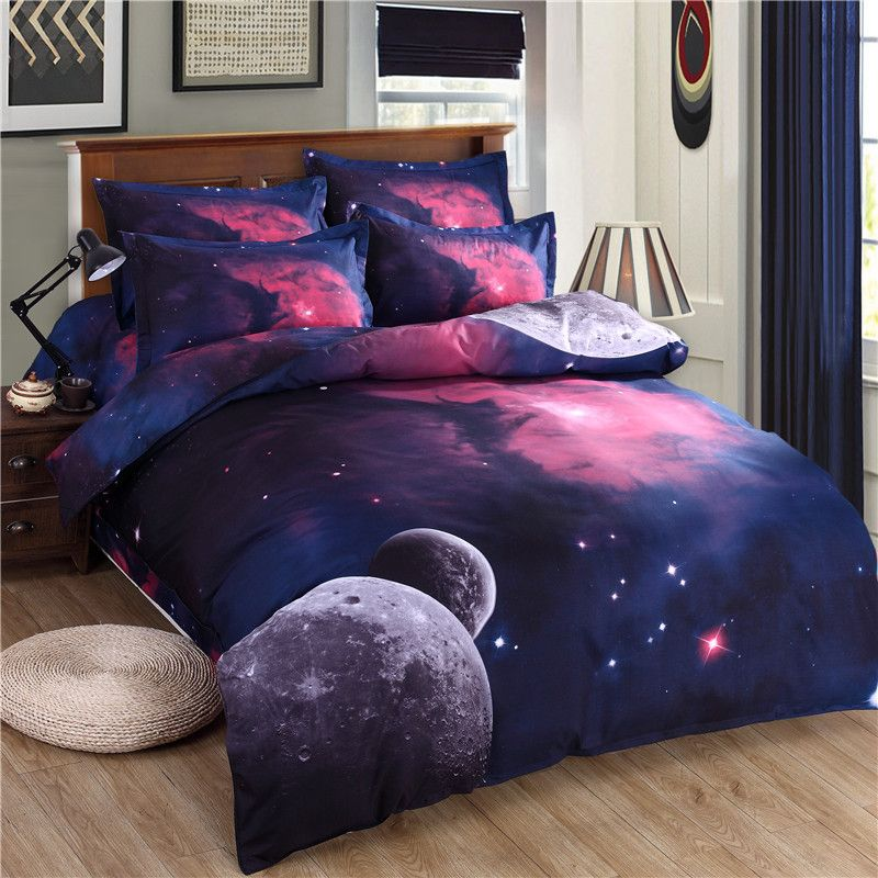 Unikea 3d Galaxy Bedding Sets Twin, Queen Size Space Bedding