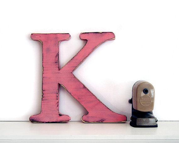 Wooden Letter K In Blush Pine Wood Sign Wall Decor By Thepinenuts