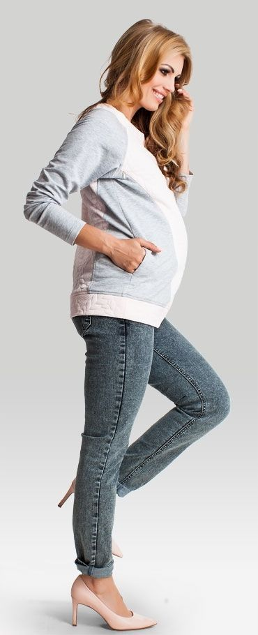 Pastel zippers hidden at the bustline maternity nursing blouse