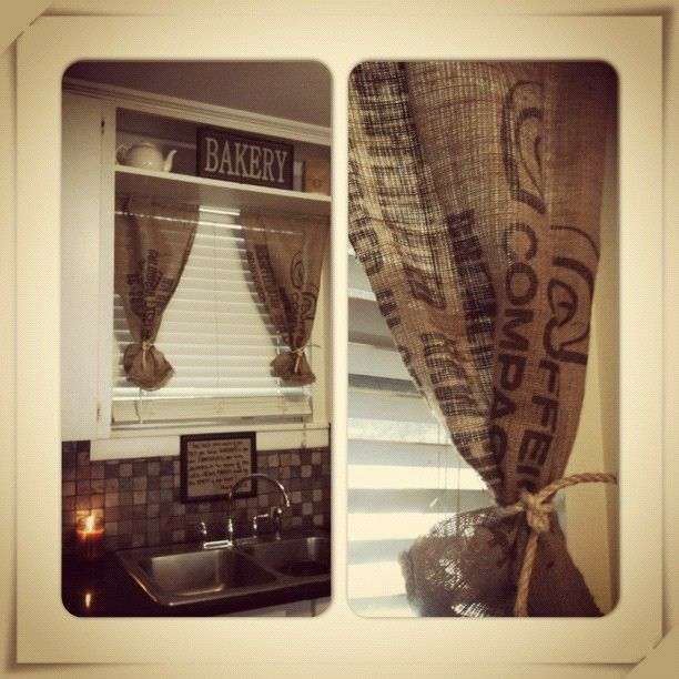 Burlap coffee bag curtains for the kitchen! | Burlap coffee ...