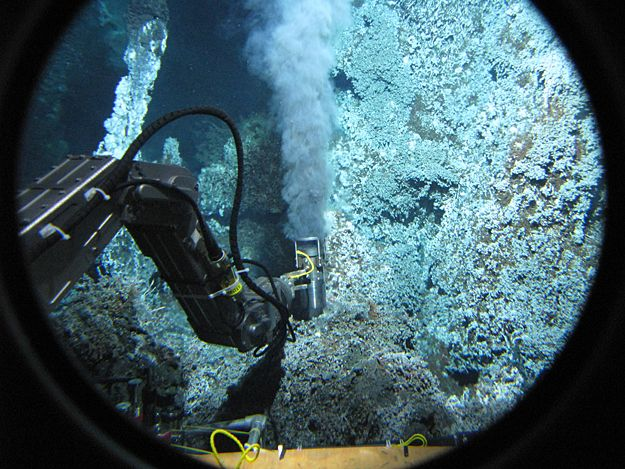 "This is what's called a ""black smoker"" on the sea floor."