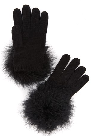 Kate Spade New York Marabou Pom Pom Gloves - Black/Black