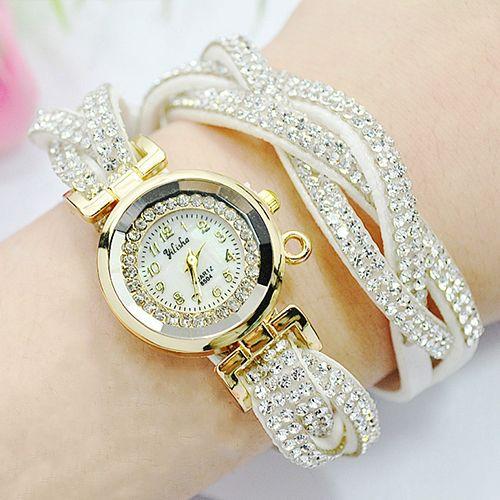 braceletwristwatcheswithartificialdiamondleatherband