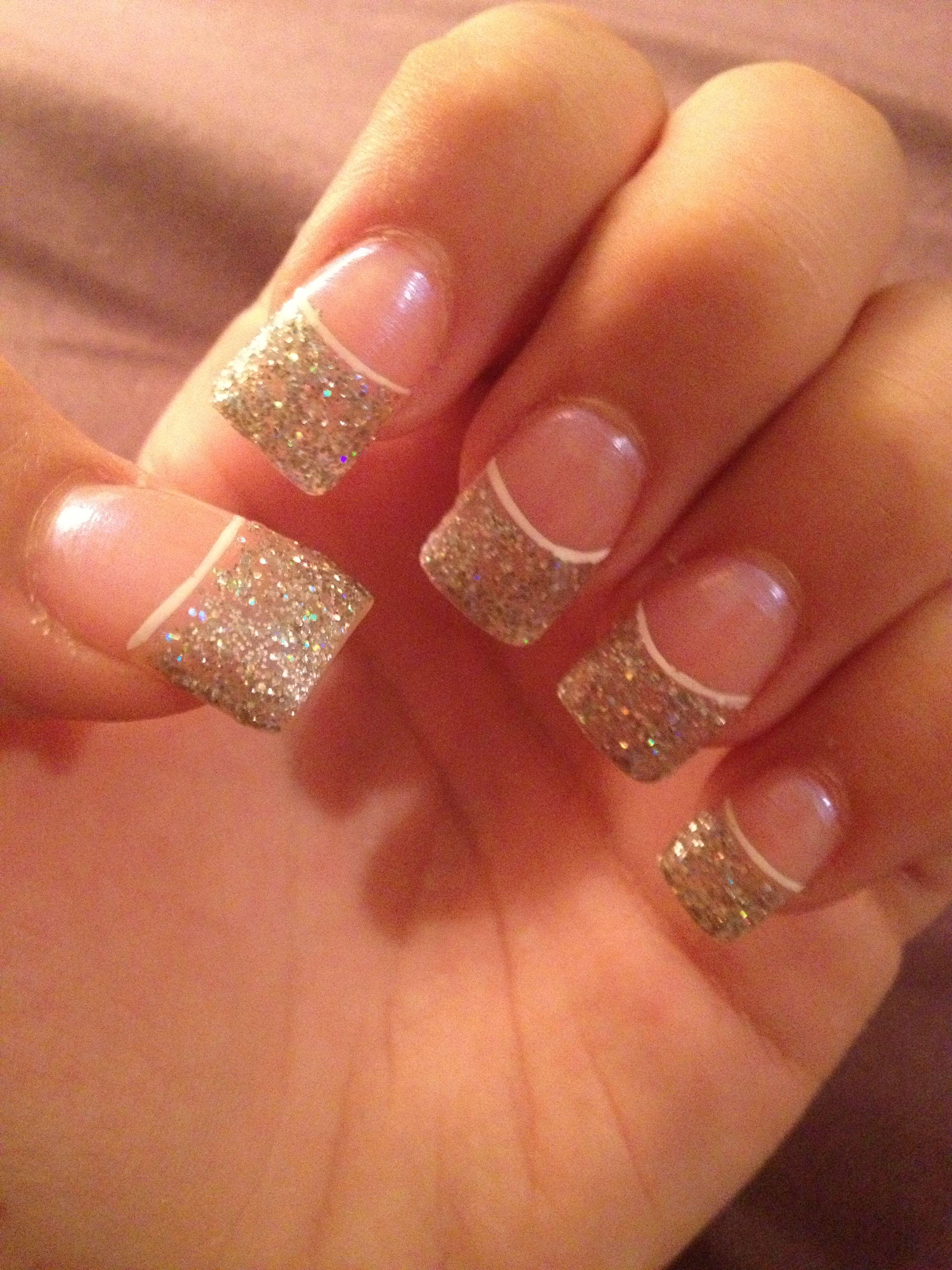 Glitter French nails | Nails | Pinterest | Glitter french nails ...