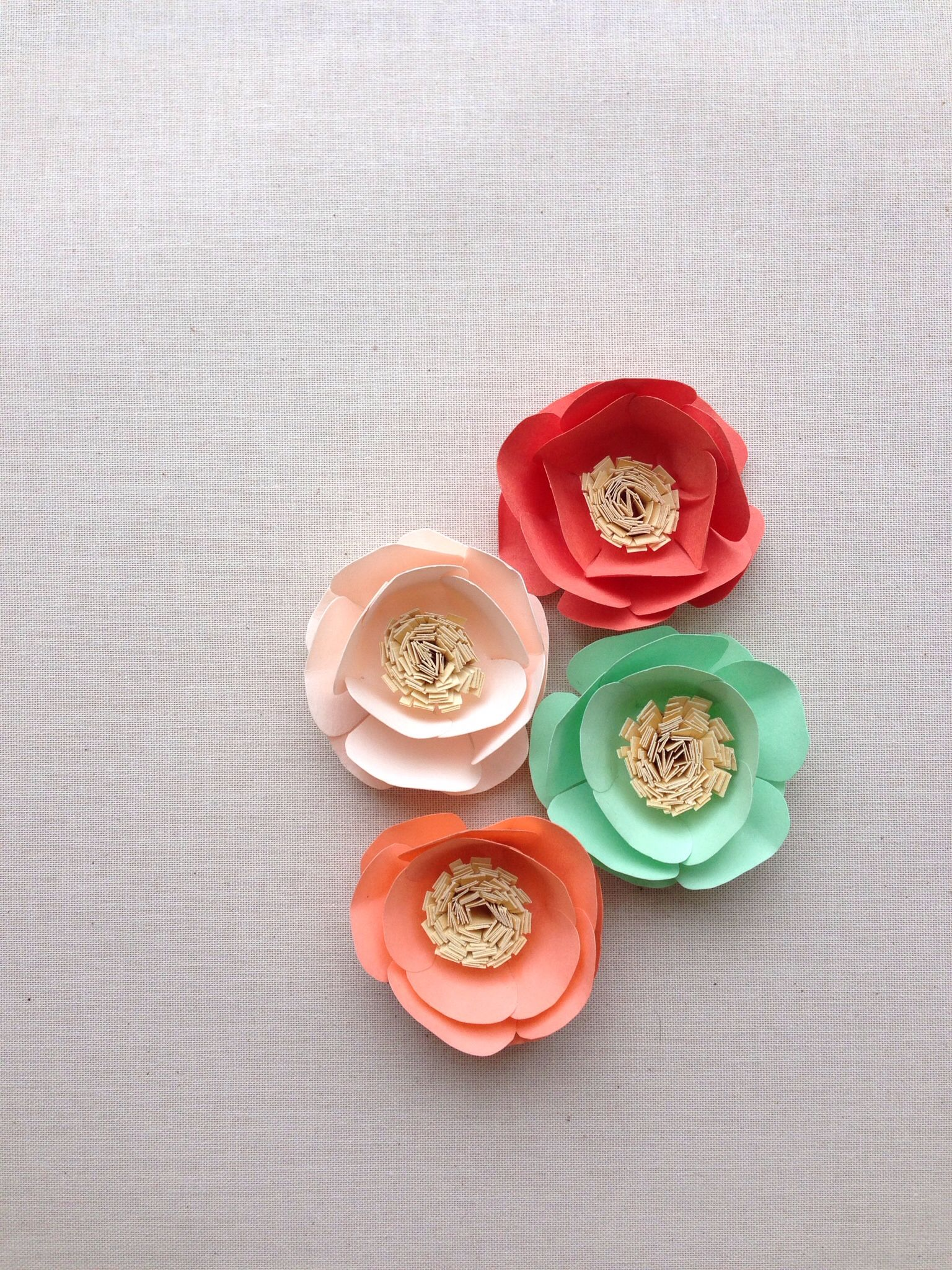 Paper flowers in mint coral papaya blush and gold  paper flower