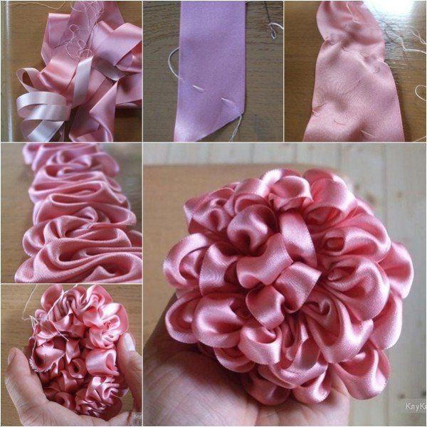 DIY Ruffled Ribbon Flower - Ribbon Dahlia #ribbonflower
