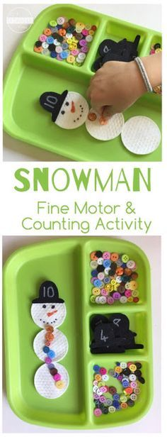Snowman counting activity for preschool winter for Heilpadagogik kindergarten
