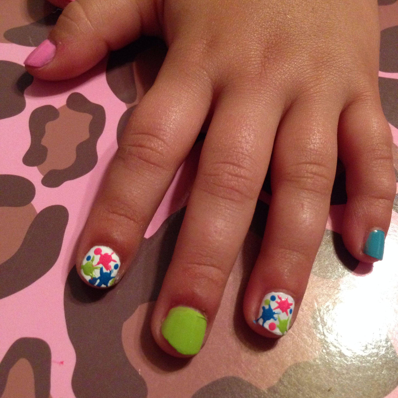 Colorful little nails - paint splatter - kids nail design | Kids ...