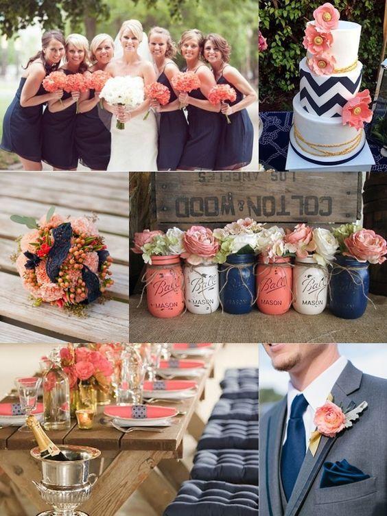 Coral Peach Navy And Gold Summer Wedding Colour Scheme Wedding