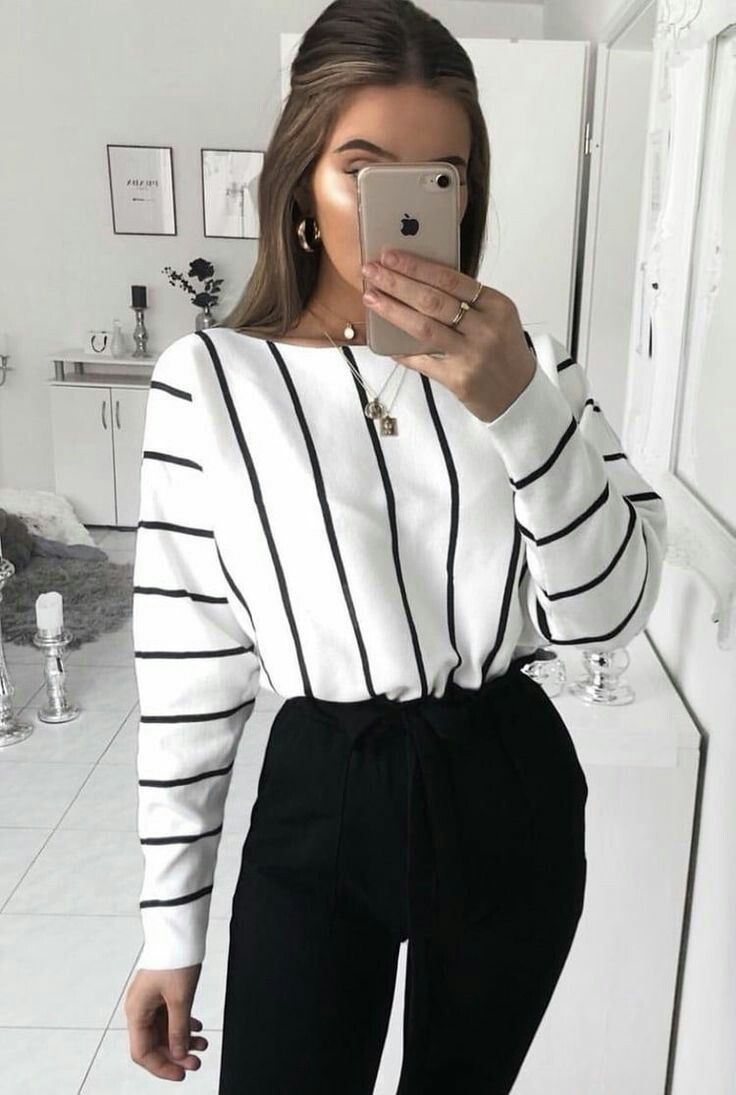 black and white stripe sweater with high rise black pants. Visit Daily Dress Me at dailydressme.com for more inspiration                women's fashion 2018, fall fashion, casual outfits, school outfits, women's blouses, sweaters, high rise pants, #90sfashion
