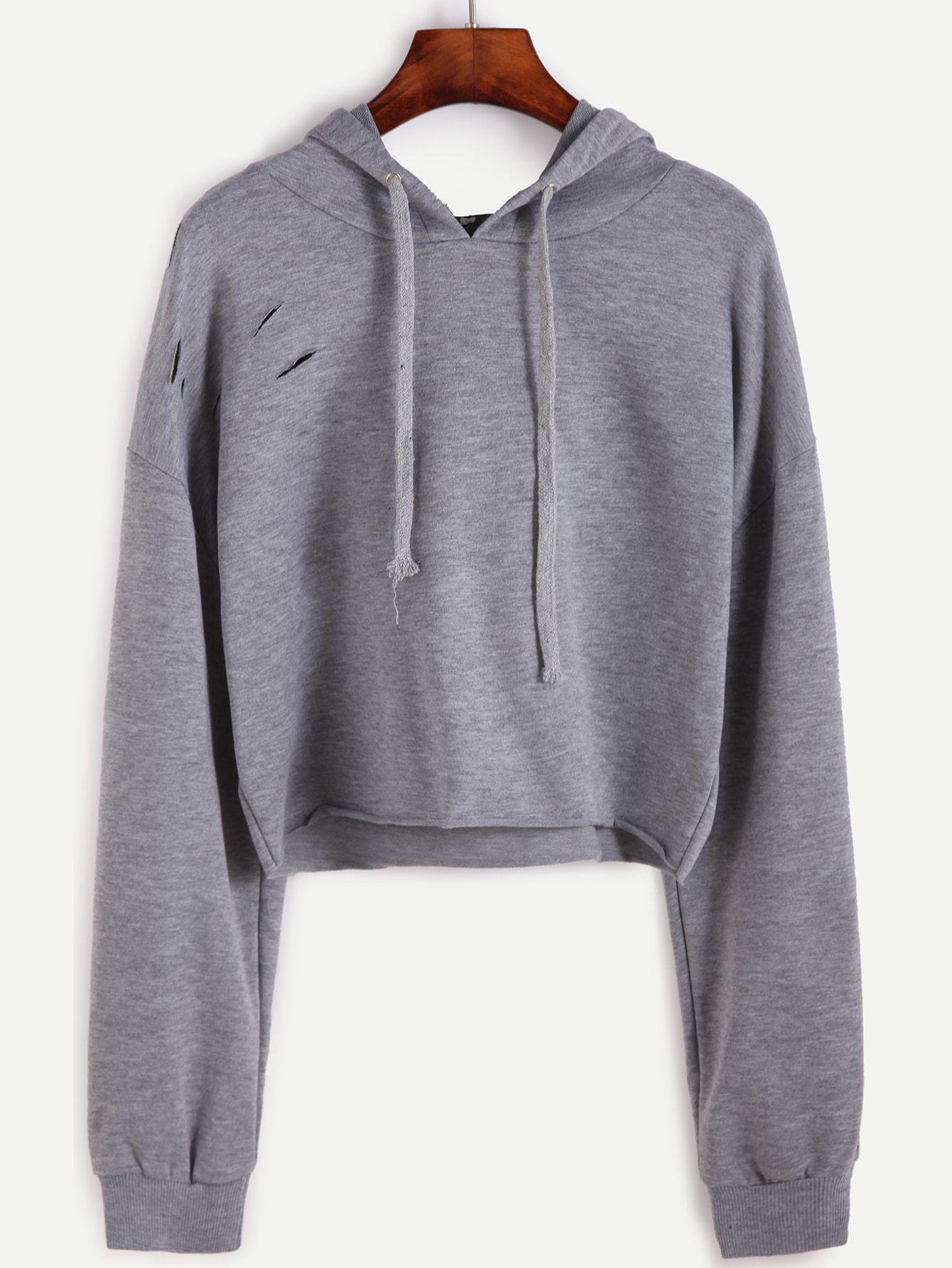 209adb66a2d Drop Shoulder Ripped Drawstring Hooded Crop Sweatshirt