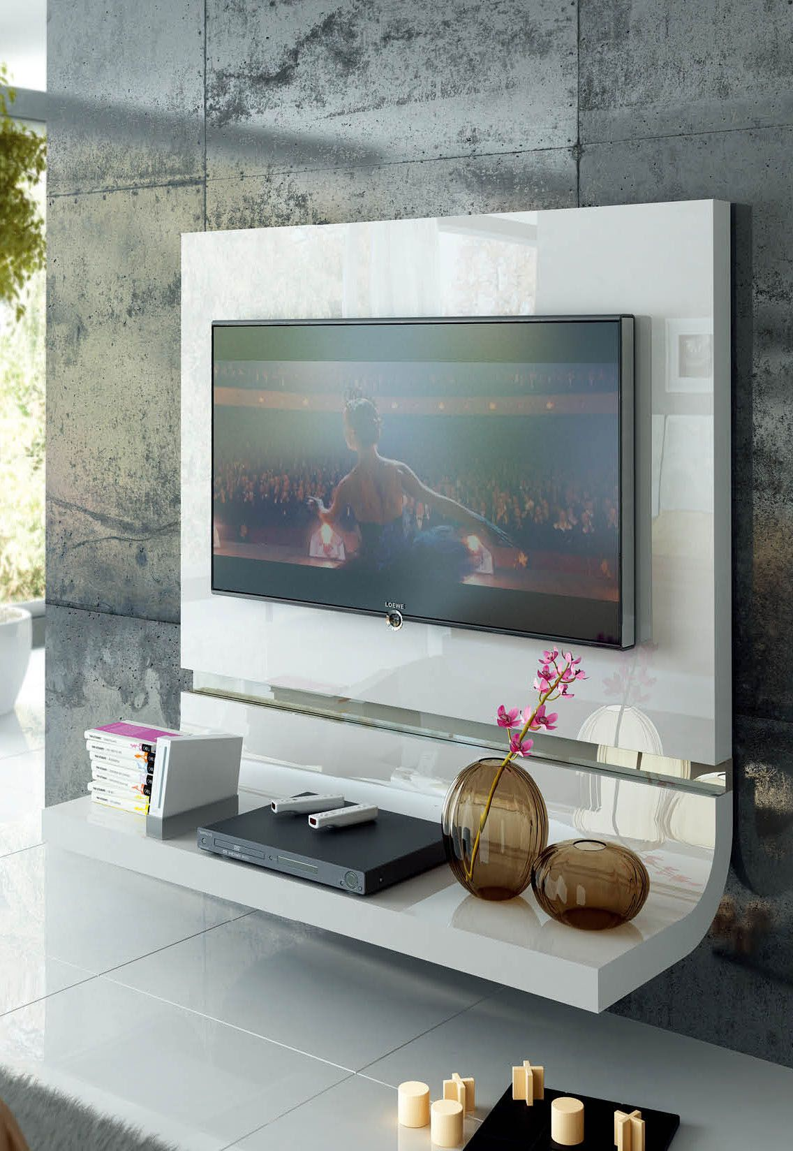 Wall Tv Unit Design Tv Unit: Spain Made White Lacquer Floating Wall Unit With Optional