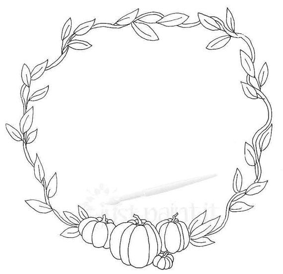 Fall Pumpkin Wreath Coloring Page Instant By Justpaintitetsy