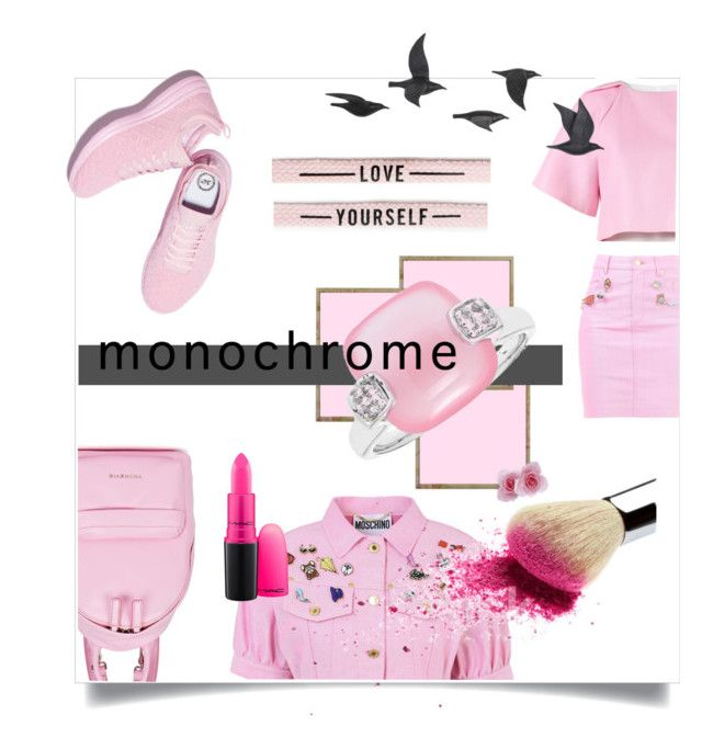 """Color Me Pretty: Head-to-Toe Pink"" by kari-c ❤ liked on Polyvore featuring Moschino, TIBI, Givenchy, Jayson Home, MAC Cosmetics and monochromepink"