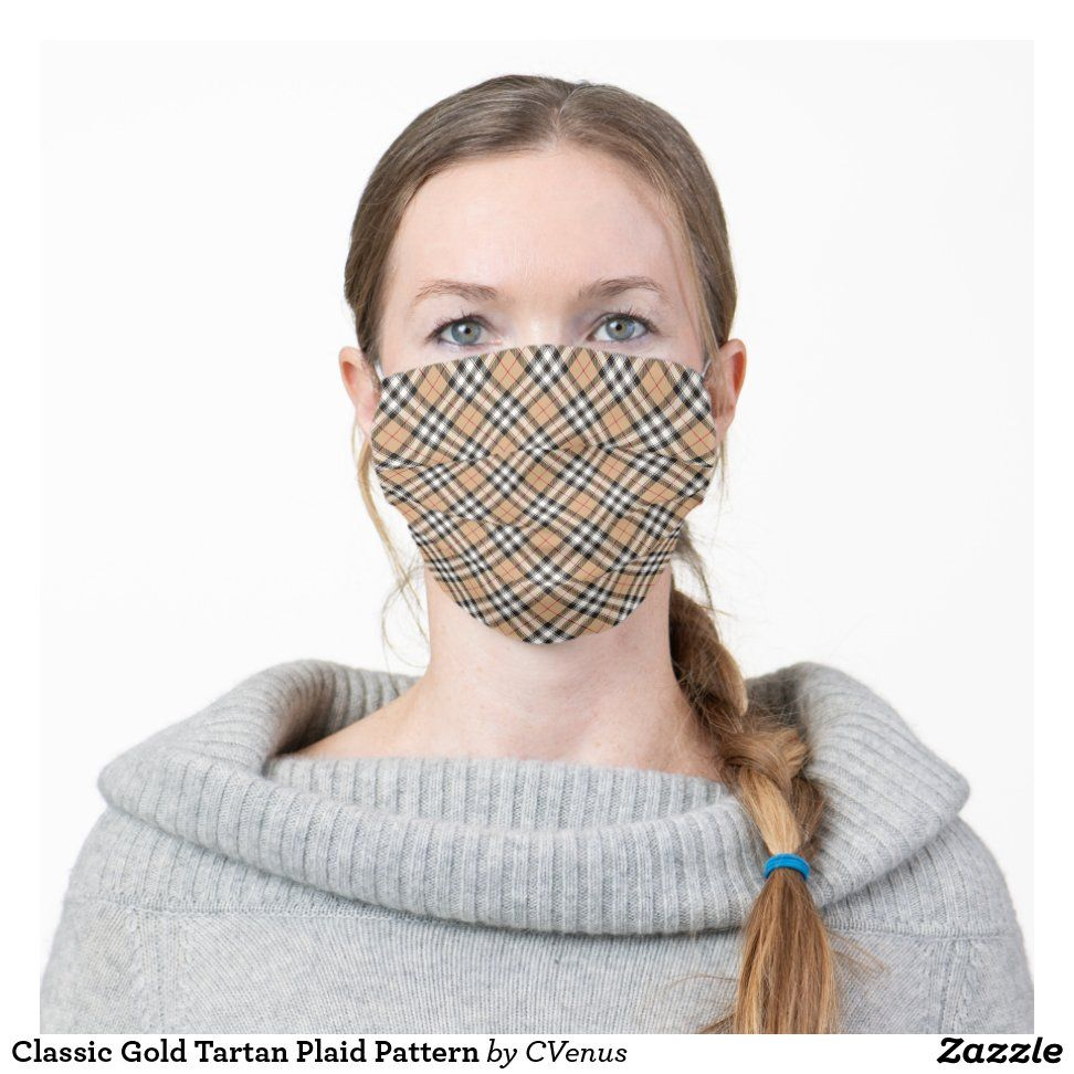 Classic Gold Tartan Plaid Pattern Cloth Face Mask | Zazzle.com