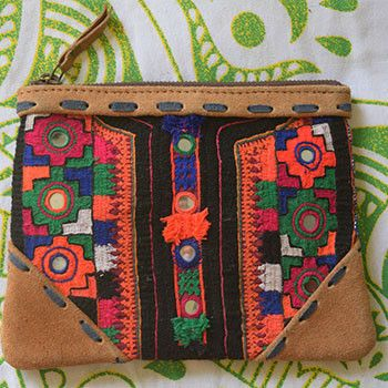 Embroidered Suede Indian Clutch