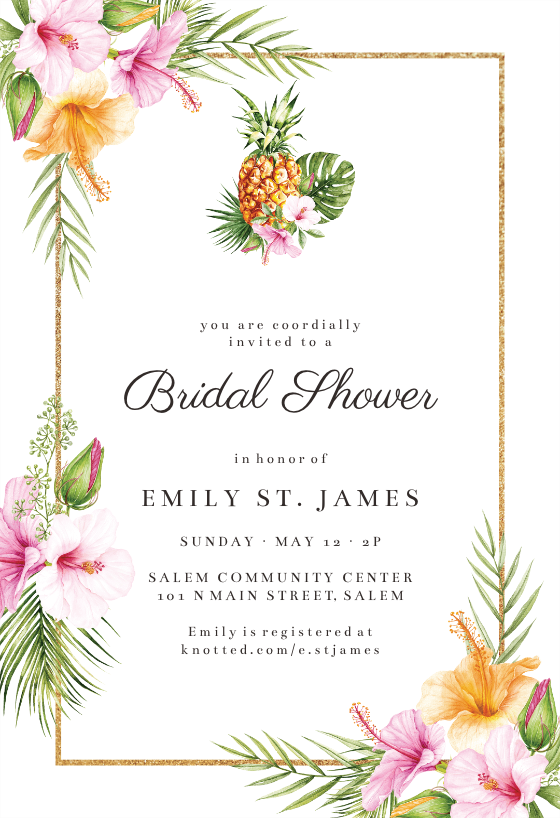 Tropical Pineapple Bridal Shower Invitation Template Greetings Island Pineapple Bridal Shower Invitations Pineapple Bridal Shower Tropical Bridal Shower Invitations