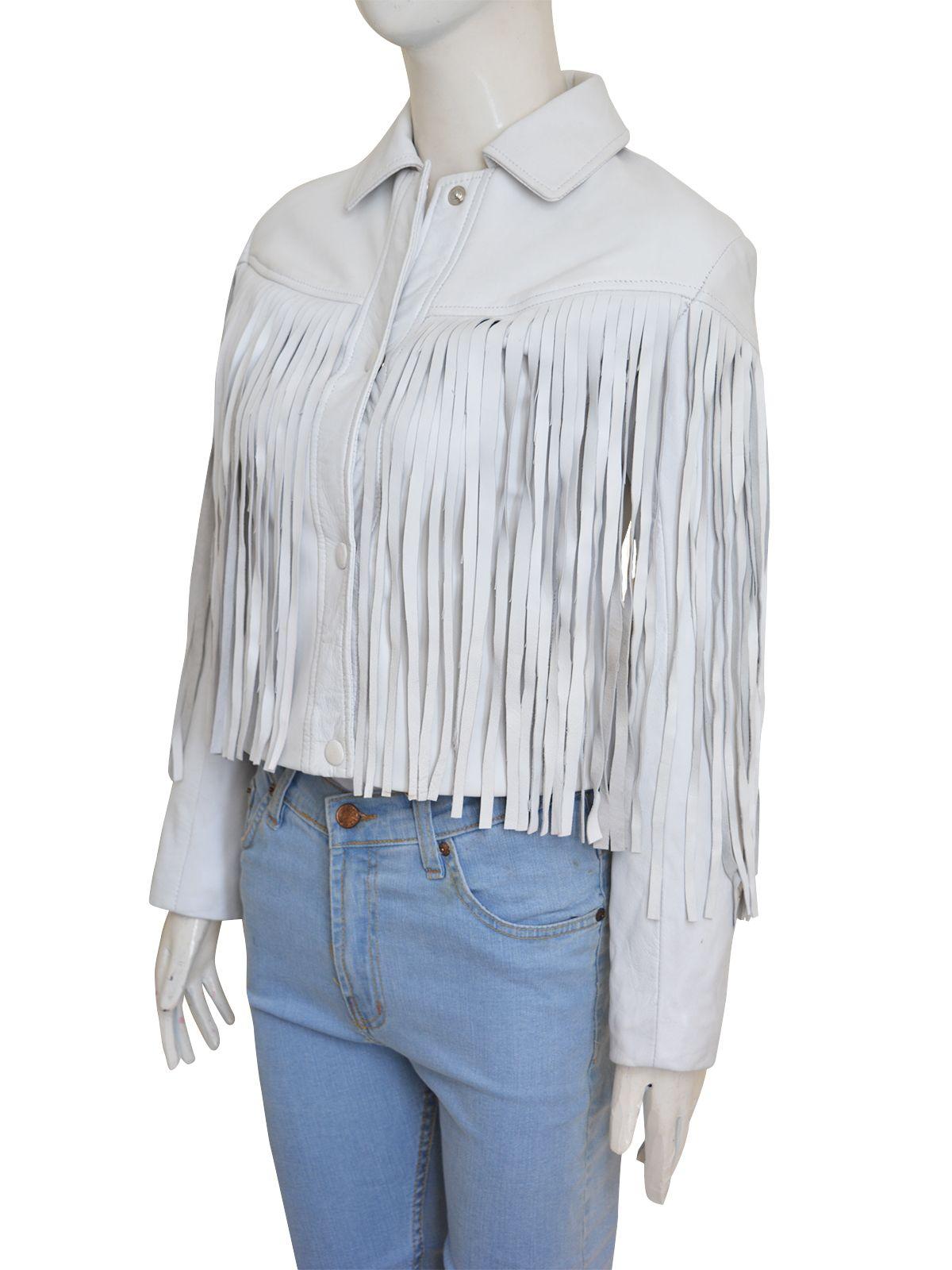 White Fringe Leather Jacket (With images) Fringe leather