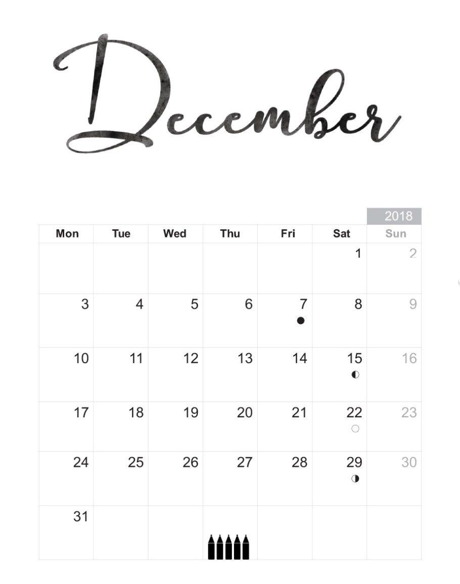 Printable Calendar December 2019 Caligraphy Blank Calendar Template December 2018 | December 2018 Calendar