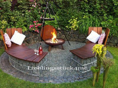 Lieblingsstuck4me Garten Gabionenrundbank Grillplatz Im Garten Feuerstelle Garten Garten