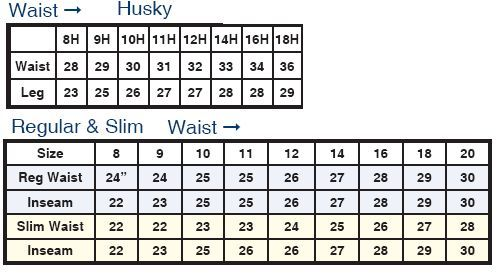 Boys Levi Size Chart Husky Regular Slim