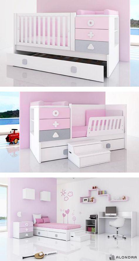 Cunas convertibles zero maths de colores para ni as etapa baby kid junior descubre el - Prenatal muebles bebe ...