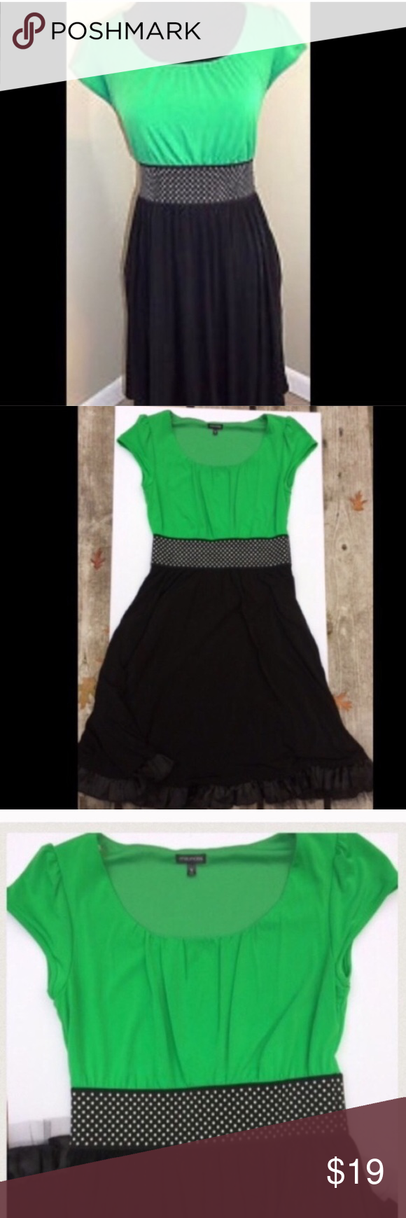 Maurice's Green and Black Polkadot Dress Cute polka dot waist band pulls together this  black and Green Party dress . Great condition, only worn once! Maurices Dresses Midi
