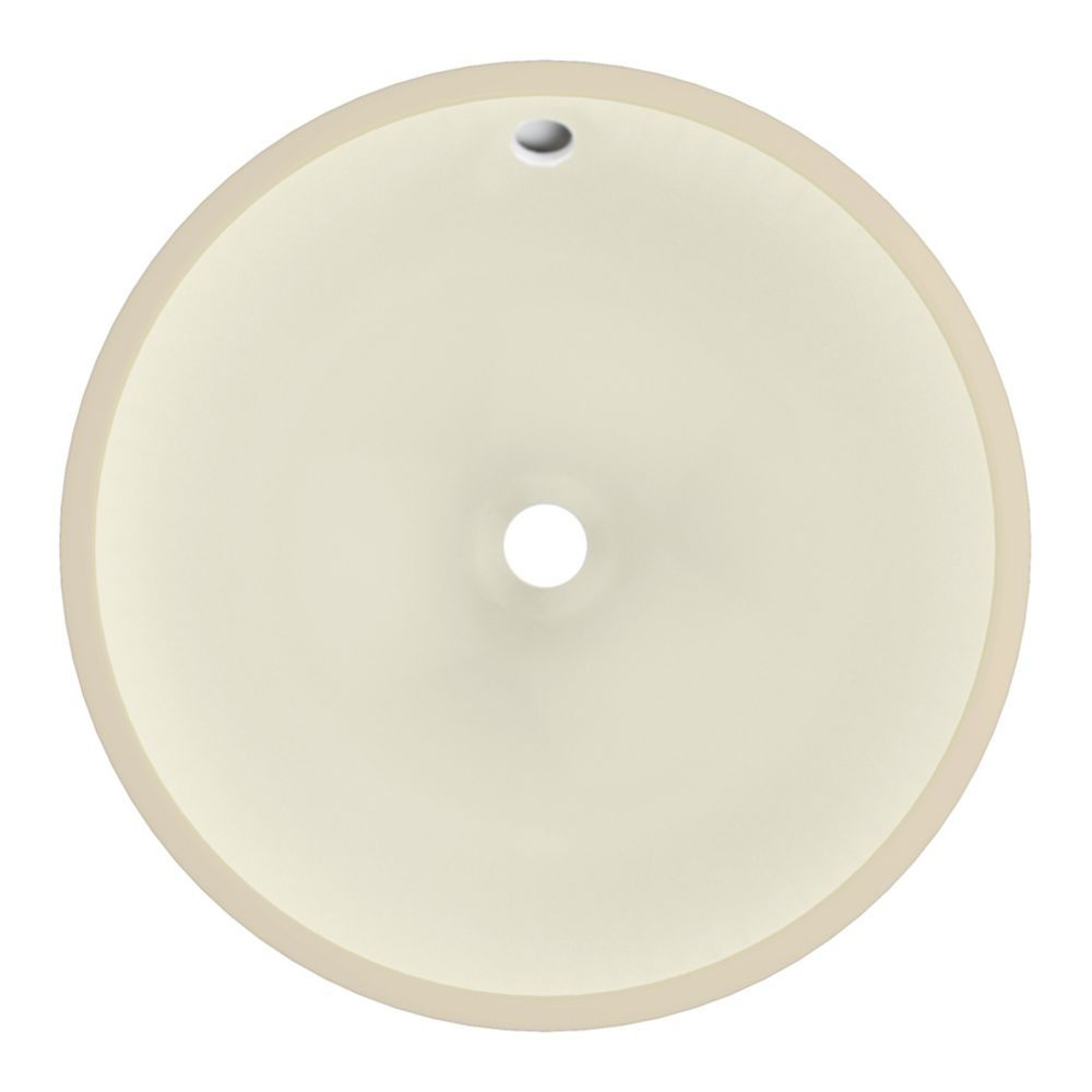 16 Inch W 16 Inch D Round Undermount Sink In Biscuit Color
