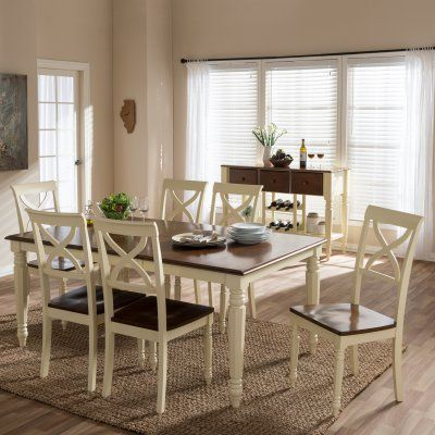 Baxton Studio Ashton 8 Piece Dining Table Set  Ashtonbuttermilk Cool 8 Pc Dining Room Set Design Inspiration