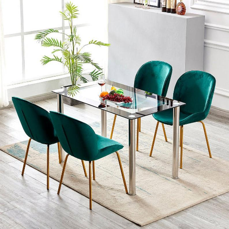 Emerald Green Peacock Blue 2 Velvet Fabric Dining Chairs Etsy In 2020 Green Dining Room Green Dining Chairs Blue Dining Chair