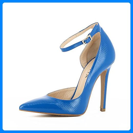 LISA Damen Pumps halboffen Geprägtes Leder blau 35 - Damen pumps  (*Partner-Link