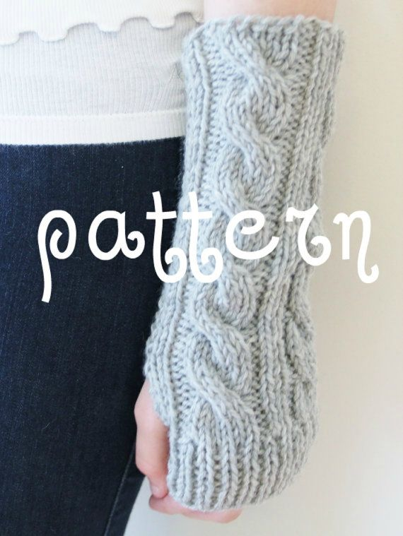 Knitting Pattern Fingerless Gloves Cabled By Cuddlemeknits On Etsy