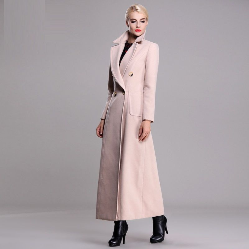 2015 Winter And Autumn Long Brand Coats For Women Floor Length Coat Double  Breasted Coat White
