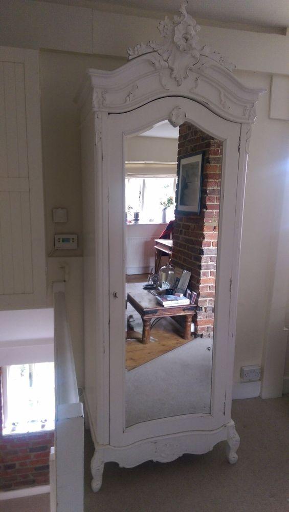 white chateau shabby chic mirrored single door