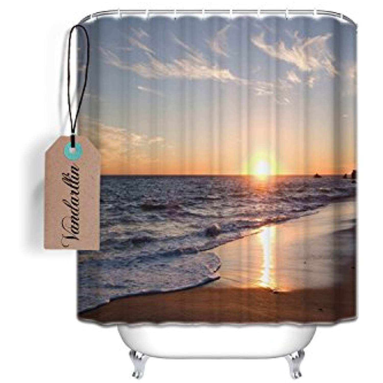 Vandarllin Tm Beach Shower Curtain Ocean Waves Sunset Pattern For Bathroom Decor Polyester Fabric Mildew R Beach Shower Curtains Bathroom Decor Bath Fixtures