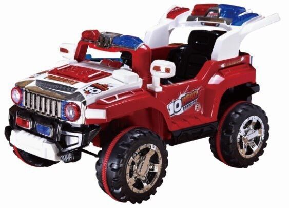 Ride On Toy Police Red Jeep Car W Reflector Electric 12v Battery 2