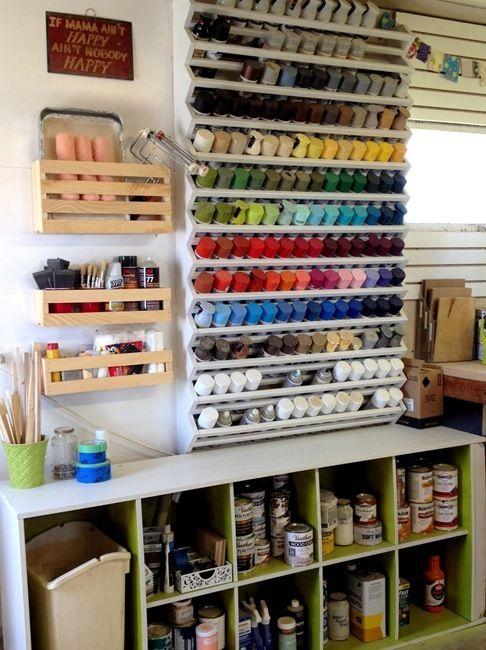 Woodshop Organization Spray Paint Rack Spray Painting