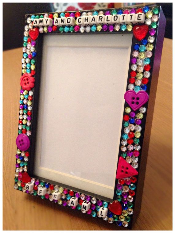 Photo frame personalised with any name wording decorated with beads ...
