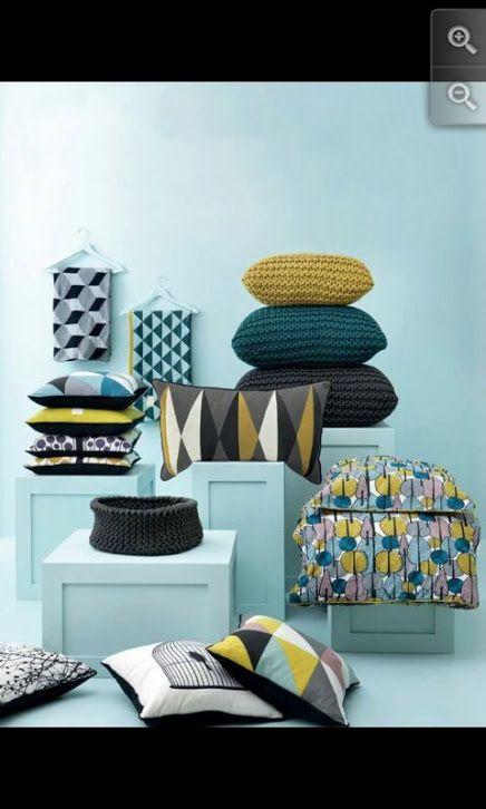 Geometric Designs Mustard Teal Dark Brown Teal Living Rooms