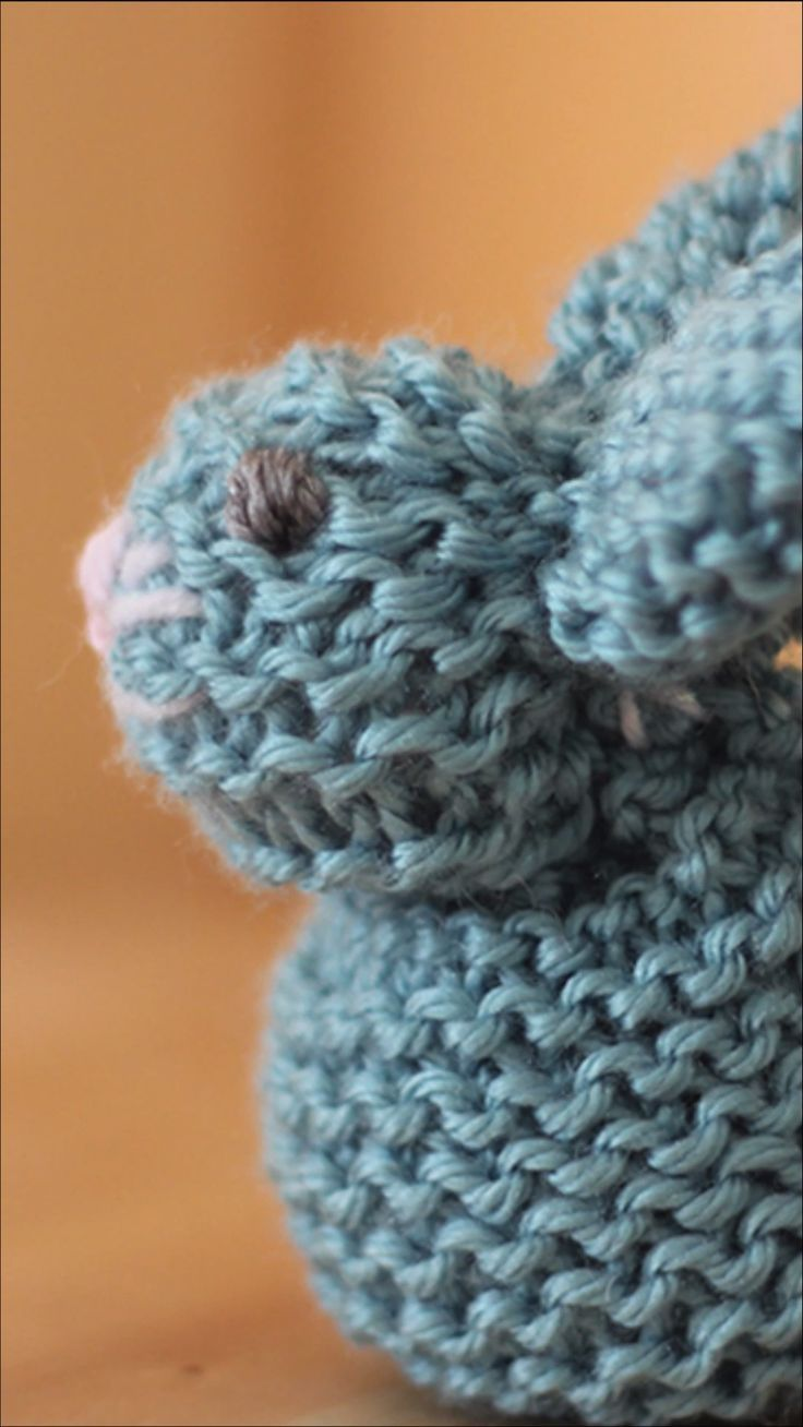 How to Knit a Bunny from a Square - Crochet and Knitting Patterns #learning