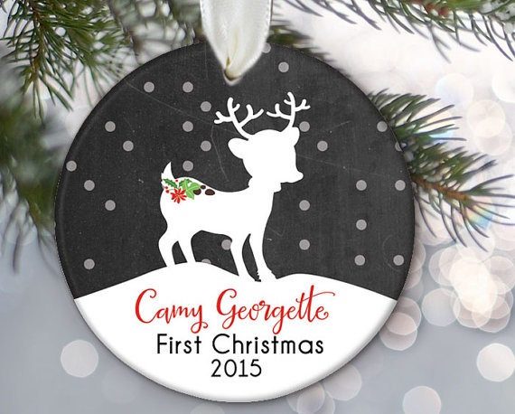 Baby\u0027s First Christmas Ornament, Baby ornament, Fawn baby