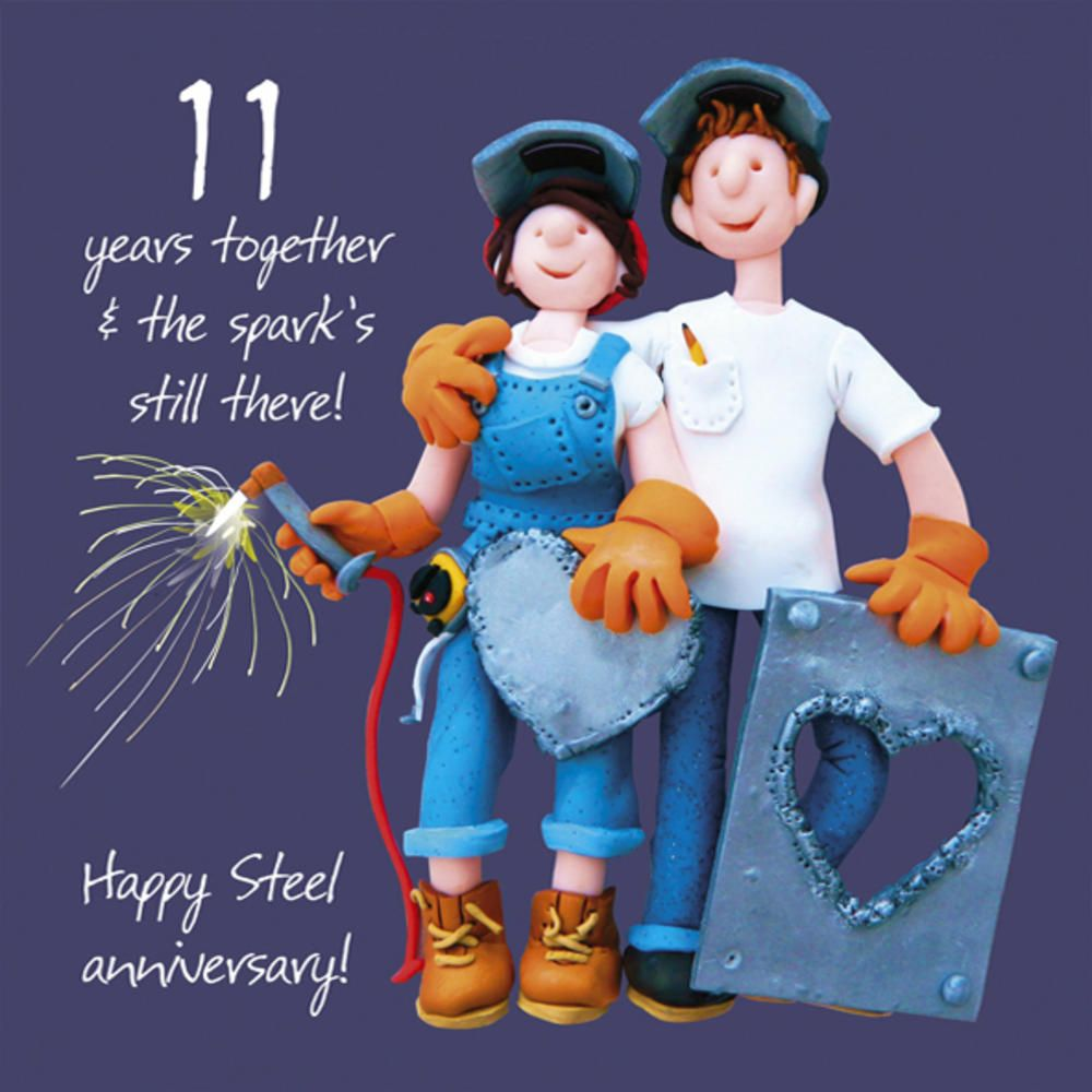 Happy 11th Steel Anniversary Greeting Card One Lump Or Two Cards Love Kates Anniversary Greeting Cards Anniversary Greetings Happy 11th Anniversary