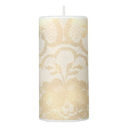 Lace Faux Gold White Sepia Floral Antonietta Glam Pillar Candle - lace gifts style diy unique special ideas