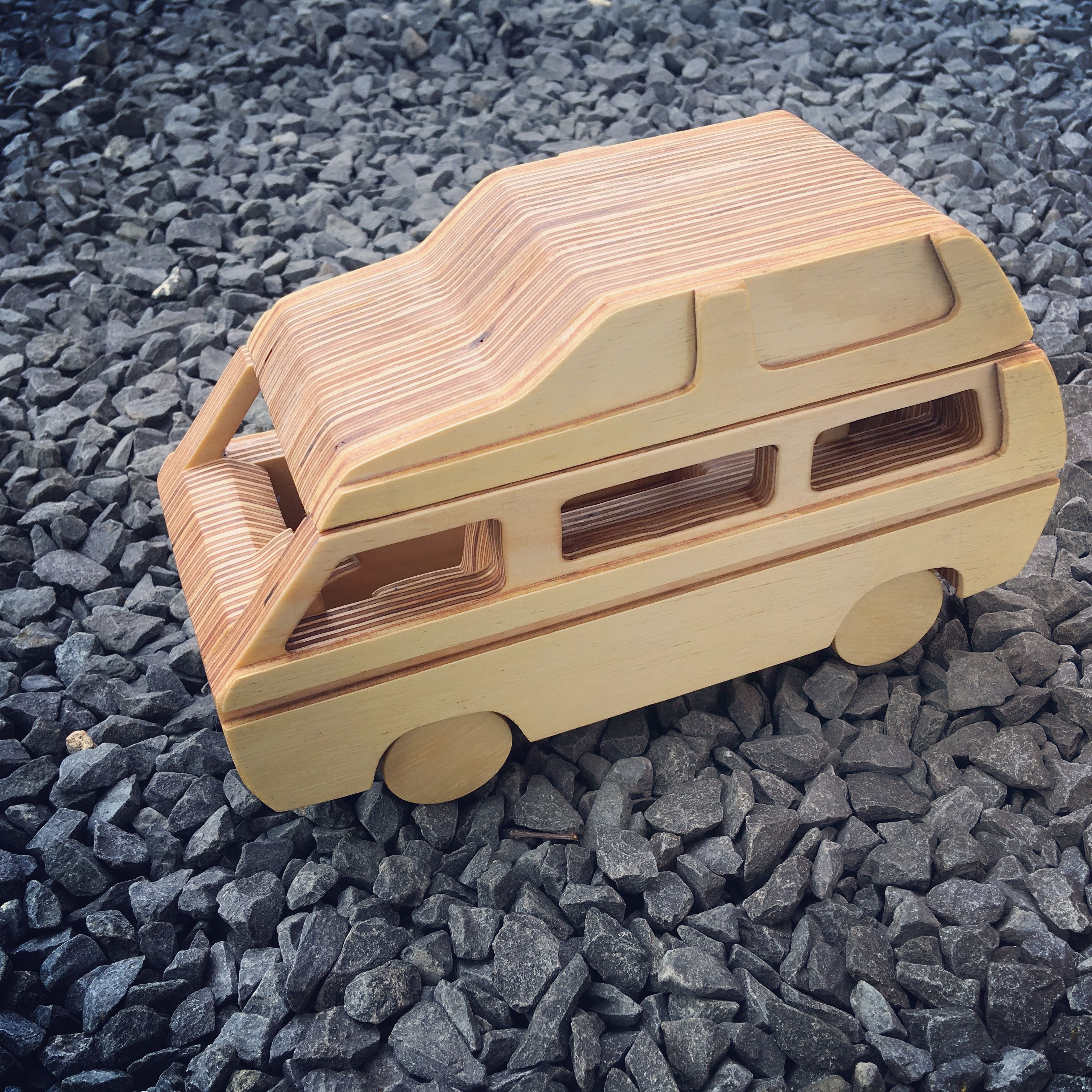 diy wooden toy car vw campervan. scroll saw plans available