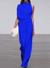 Women's Commuting Asymmetry Sleeve Pure Colour Jumpsuit #casualjumpsuit