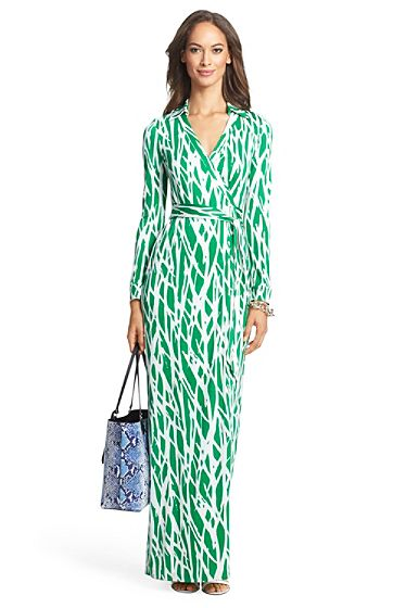 Heritage New Jeanne Two Long Maxi Silk Jersey Wrap Dress In Twigs ...