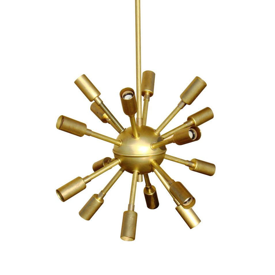 This treat of a light is sure to attract attention with the space with the space age styling of our original sputnik chandelier it delivers gorgeous ambient light from a golden toned brass body aloadofball Choice Image