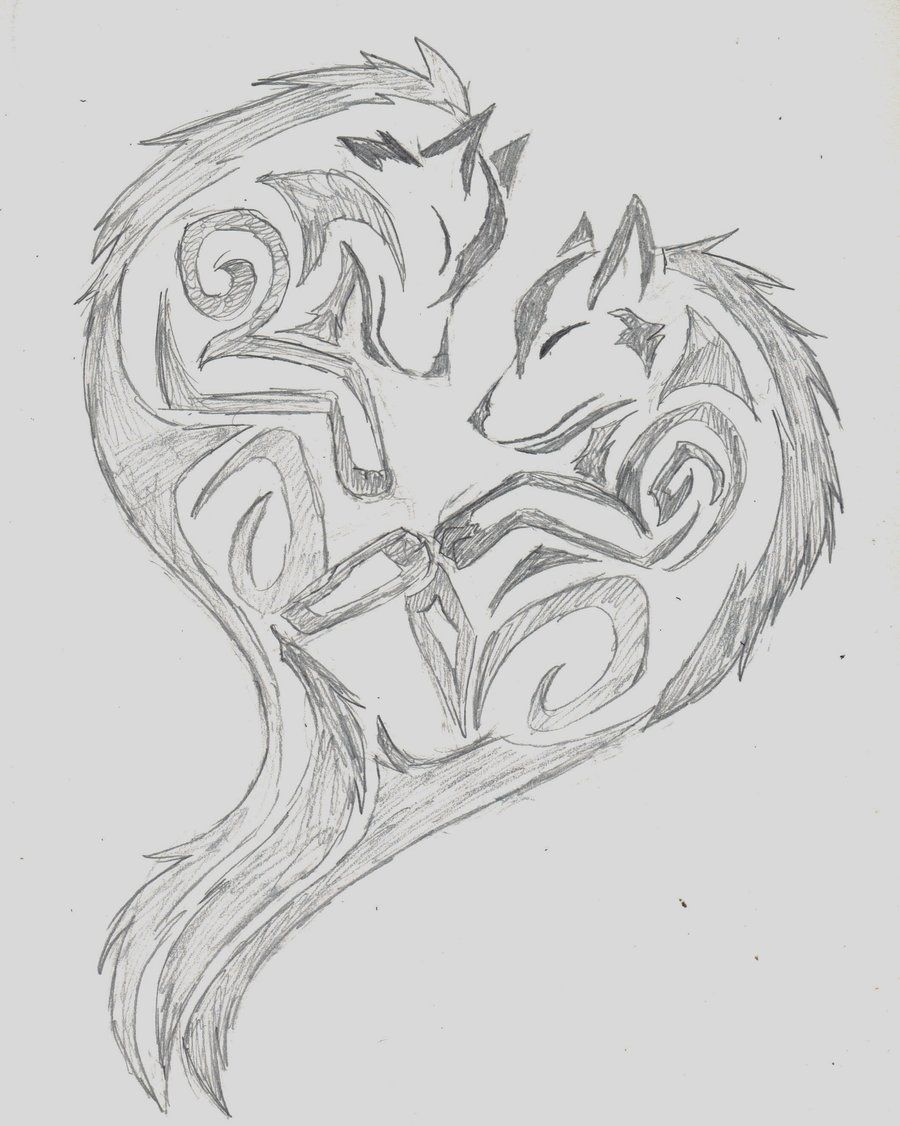 Wolfheart wolf tribal heart by wolfhappy on deviantart tattoo